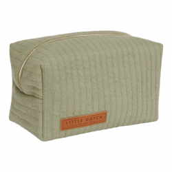 Trousse de toilette coton bio verte Little dutch-detail