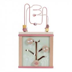 Cube en bois d'activité rose et menthe-detail