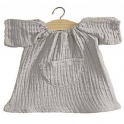 Robe en gaze de coton grise pour poupée Paola Reina-detail