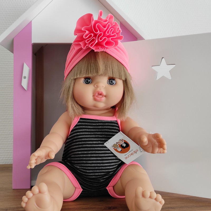 Maillot de bain poupée paola reina et son turban rose fluo