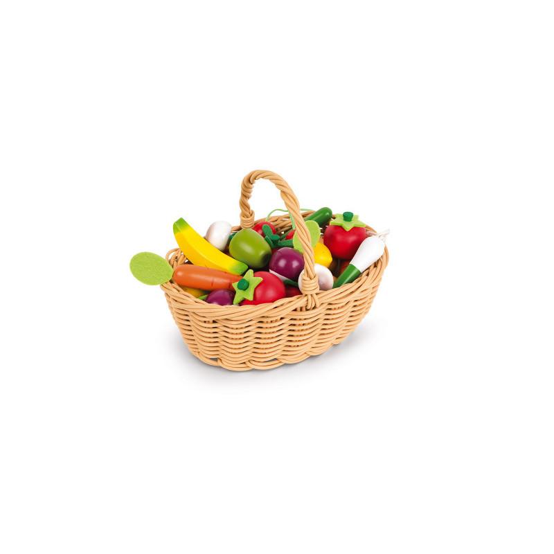 Panier en osier de fruits et légumes