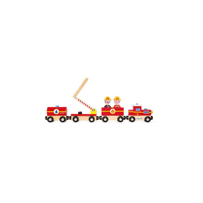 Train pompier en bois de la marque Janod