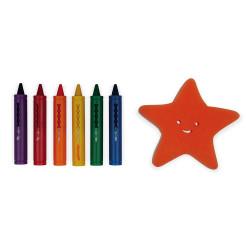 Jeu de bain contenant 6 crayons et une éponge pour s'occuper dans le bain-detail