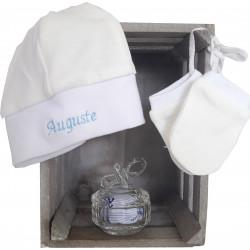 bonnet naissance blanc brodé-detail